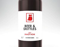 Beer & Skittles wine label