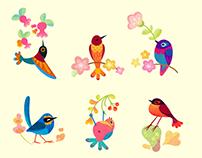 Flower bird sticker & pattern
