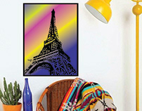 Colourful Eiffel Tower Poster