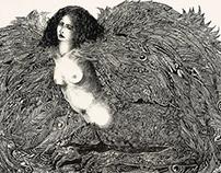 La Sphynge | Lithographie imprimé sur presse à bras.