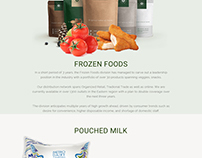 Keventer Home page about milk, bananas & Frozen foods..