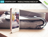 FREE Mobile phone mockup with women's bag