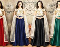 Anarkali Dress Pattern: Girls Lehenga Style Semi Suits