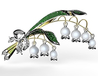 """Brooch """"Lily of the valley"""" 3D visualization"""