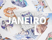 Ilustrações de Janeiro 2017   January watercolors
