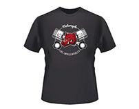 Diseño camiseta para un club de moteros de Andorra.
