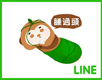 Peanut Sloth|Line sticker design