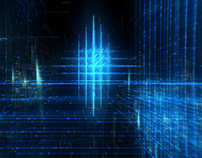 Technology Data Grid in Cyberspace Background