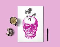 Pink skull | Ballpoint pen illustration