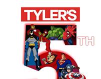 Tyler's super hero themed 5th birthday invitations