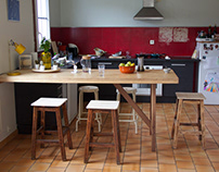 DinningTable + Upcycled High Stools