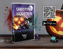 Advertising for the Unicorn Hunter Halloween game