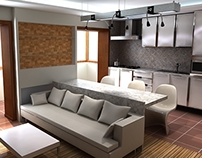 design two-bedroom apartment in a chocolate color