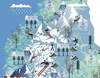 Snowfall in Norwegian skiing areas
