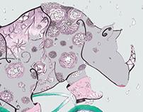 Rhino In Rain