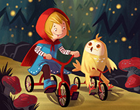 Girl & Owl Riding Tricycles