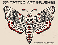 334 Tattoo Line Art Brushes (Illustrator)