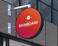Free Outside Shop Sign Board Mockup PSD