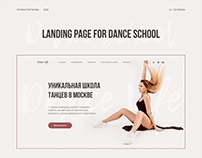 Landing page for dance school