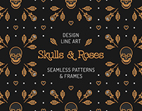 Skull & Roses: patterns & frames
