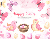 Watercolor Happy Easter Cute Collection