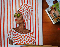 Fashion Art. Orange stripes