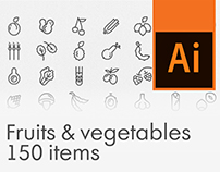 Fruits & vegetables icon set, 150 items