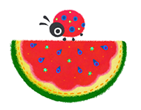 Watermelon & lady bug pattern