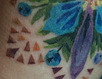 flower mandala. tattoo and sketch