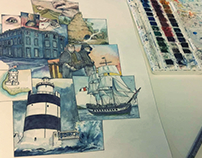 Wexford&Kildare. Failte Ireland - Tumblr illustrations.