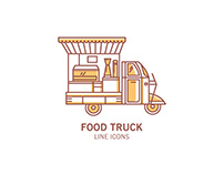Free Food Truck Line Icons