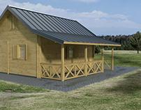 Log House with Terrace - Domek Drewniany z Tarasem