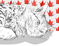 Hand drawn cat and hedgehog digital art graphic