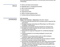 HR Internship Resume Example
