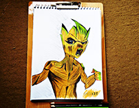 Baby Groot Color Drawing | Powered by Syed Art