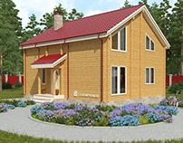Визуализация традиционного загородного дома из бруса