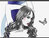 Mixed Media Fashion Illustration, Work in Progress