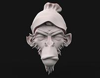 3d cartoon monkey head