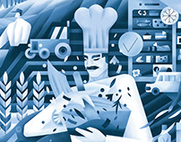 Illustration for food delivery service in New York