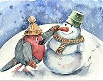 winter fun bullfinch