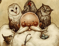 Two Owls, a Wren, Four Larks and a Hen