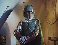 Star Wars Boba Fett, oil painting on canvas
