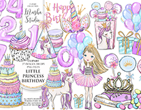 FREE Little Princess Birthday Clipart Set