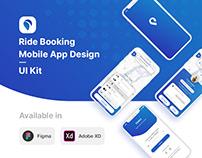 HiTaxi - Ride Booking Mobile App UI Kit - Figma | XD