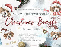 Christmas Watercolor Beagle Cards Christmas Watercolor