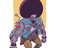 Character design-Afro Metalhead Zombie