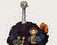 Mom And Baby Ostrich