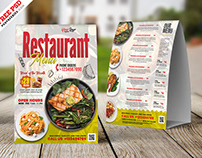 Restaurant Food Menu Tent Card Layout PSD
