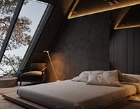 BEDROOM. Winter house. BLACK MOOD