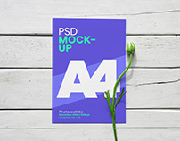 Free A4 Flyer With Flower Mockup PSD